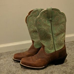 Ariat Turquoise and Brown Boots